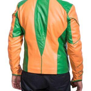 Orange Green Smallville Aquaman Leather Jacket