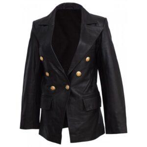 Black Double Breasted Kim Kardashian Leather Coat