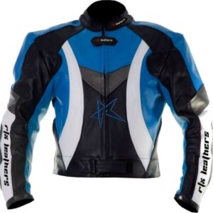 RTX Violator Sports Blue Motorcycle Leather Jacket