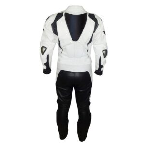 White And Black Motorcycle Leather Suit