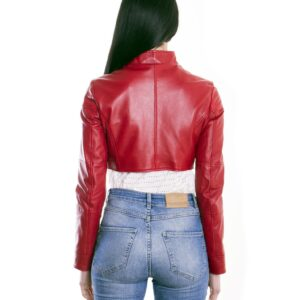 Red Color Nappa Lamb Short Leather Jacket