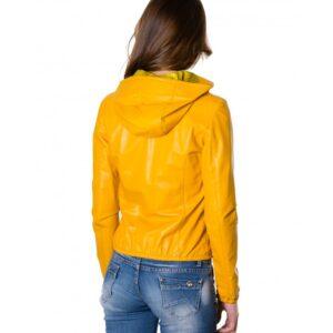 Street 27 Yellow Nappa Lamb Leather Hooded Jacket