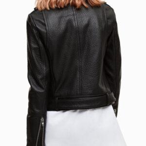 Thea Queen Black Leather Biker Jacket