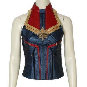 Carol Danvers Captain Marvel Blue and Red Leather Vest