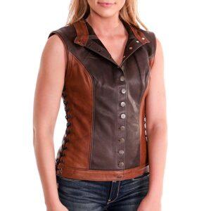 Brown Artemis Centered Closure Leather Vest