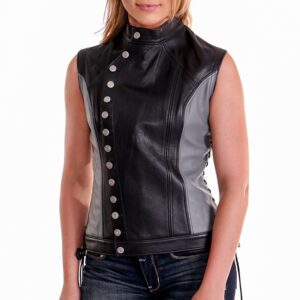Black Athena Centered Closure Leather Vest