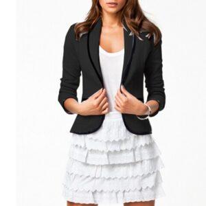 Turn Down Collar Slim Black Short Jacket