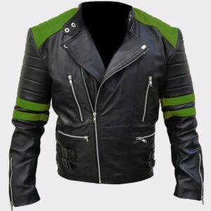 Men's Classic Biker Grey and Black Leather Jacket