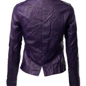Purple Biker Cropped Leather Jacket