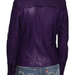 Women's Purple Quilted Biker Jacket