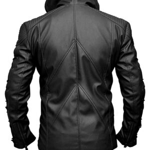 Stephen Amell Roy Harper Arrow Season 3 Black Hoodie Leather Jacket