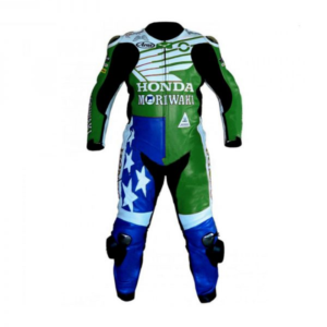 American Honda Green and blue Motorcycle Racing Leather Suit