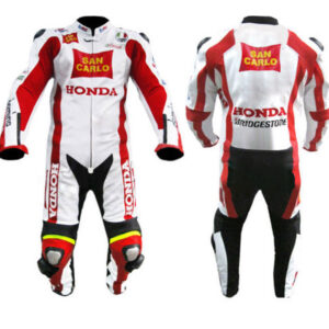 Honda San Carlo Red White Motorcycle Leather Suit Jacket pant With Safety Pads