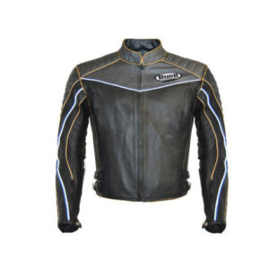 buell gray black motorcycle leather jacket with safety pads