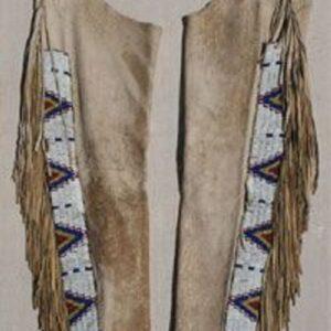native-american-beige-buckskin-suede-leather-fringes-beaded-chaps