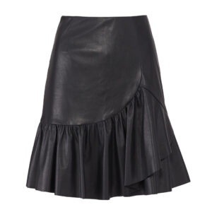 ruffled-vegan-leather-black-skirt