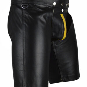 black-cowhide-leather-chaps-shorts