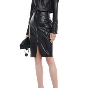 black-leather-pencil-long-skirt