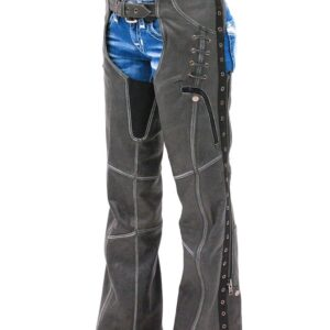 eyelet-trim-stretch-thigh-vintage-gray-leather-chaps