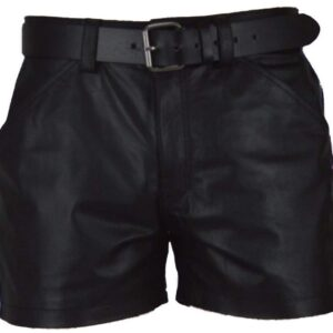 men-real-leather-black-with-white-strips-shorts