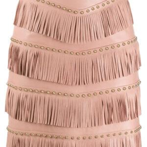 pink-lamb-skin-stud-embellished-fringed-skirt