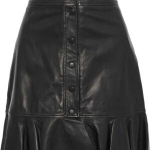 ruffle-trimmed-leather-mini-skirt