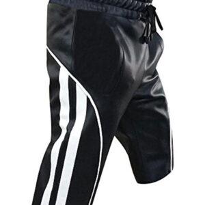 black-leather-cargo-shorts