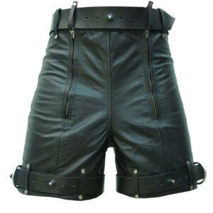 black-leather-chastity-bondage-shorts-locking-rear-zip