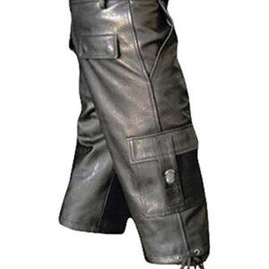 black-leather-combat-cargo-shorts