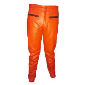 men-contrast-panels-orange-leather-biker-pant