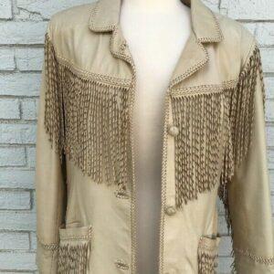 Tan Leather Western Fringed Jacket