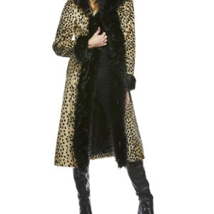 Leopard Hooded Faux Fur Coat