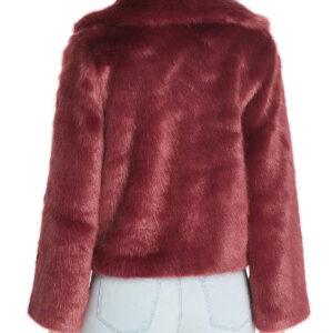 Wine Short Faux Fur Coat