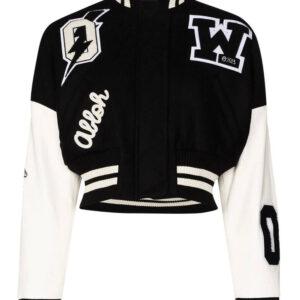 Black and White Cropped Varsity Bomber Jacket