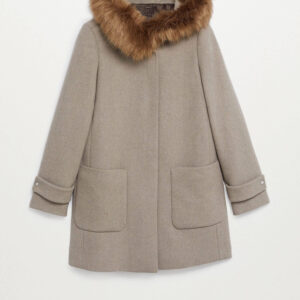 Faux Fur Coffee Hooded Coat
