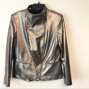 Golden Metallic Biker Leather Jacket