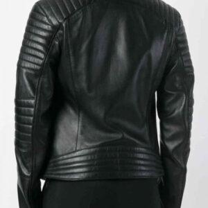 Black Bomber Leather Biker Jacket