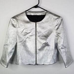 Metallic Silver Cropped Leather Jacket