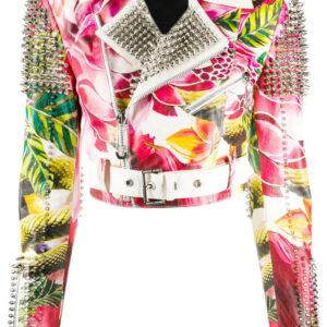 Multi-Color Cropped Spike Stud Floral Biker Jacket