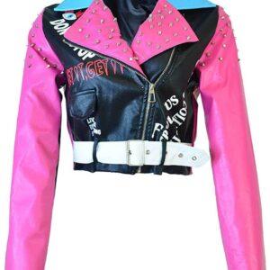 Multi Color Studded Short Biker Leather Jacket