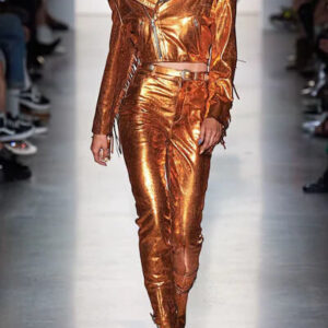 Orange Cropped Metallic Fringe Leather Jacket
