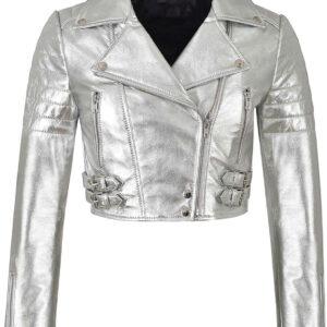 Silver Metallica Leather Cropped Biker Jacket