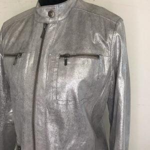 Silvery Metallic Leather Women's Jacket