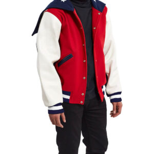 USA Varsity Leather Jacket In Red Multi
