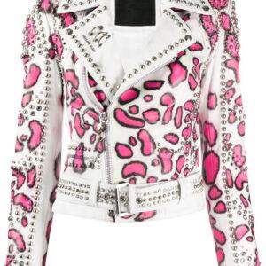 White Philipp Plein Animal Print Stud Jacket