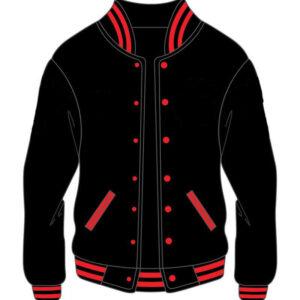 Custom Black And Red Varsity Jacket