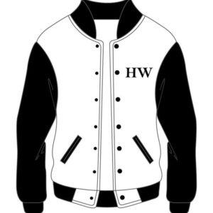 Custom Black & White Mens Varsity Bomber Jacket
