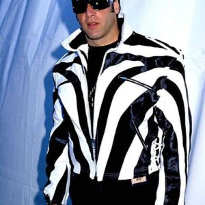 Andrew Dice Clay White and Black Leather Jacket