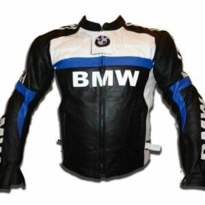 Blue Black White BMW Motorcycle Leather Jacket