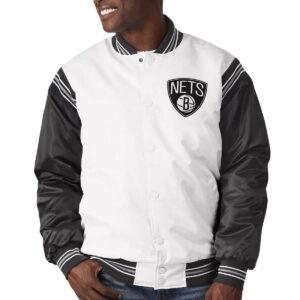 Brooklyn Nets Renegade White and Black Satin Jacket